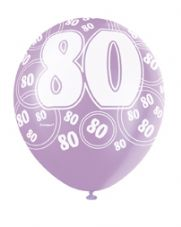 80th Birthday Pink Glitz Latex Balloons 12 inch